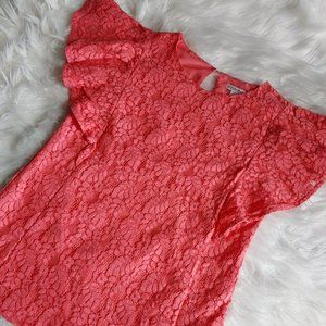 Women's Laced Leaf and Floral Red Top